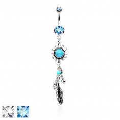 Steel belly button piercing – glittery zircons, sun with turquoise centre, an arrow, a feather, leaves