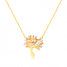 585 Combined gold necklace – branched tree of life with leaves