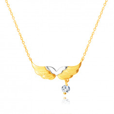 585 Combined gold necklace – angel wings, round clear zircon