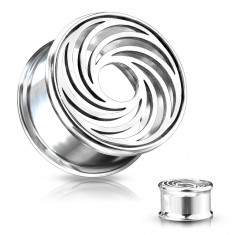 Steel plug in silver colour – lines in the shape of a whirl, a round cutout in the centre
