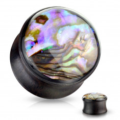 Wooden ear plug – black-brown colour, clear glaze with multicoloured background