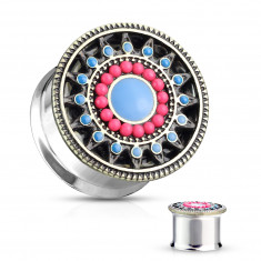 Steel ear plug in a silver colour – flower with pink and blue petals