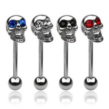 Skull tongue ring with a zircon