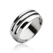 Stainless steel ring - two cut-out lines