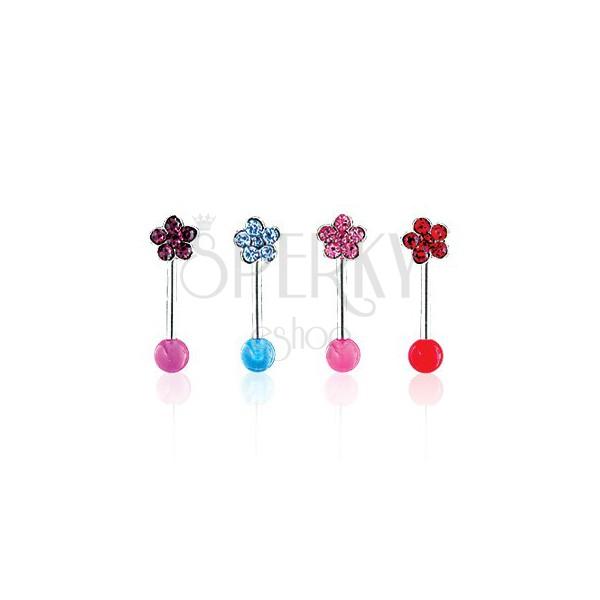 Eyebrow ring - Flower on UV Ball