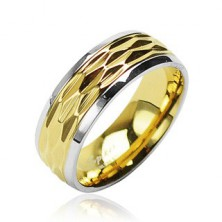 Stainless steel ring - wavy pattern in gold colour