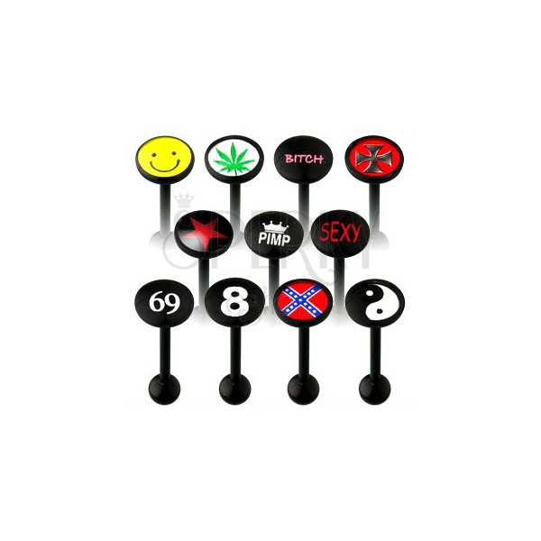 UV tongue barbell in different styles