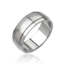 Steel ring for men - matt central part