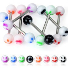 Tongue piercing - colourful smiley
