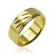 Stainless steel ring in gold colour, thin cuts