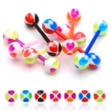 Cheerful ball tongue ring, colourful hearts