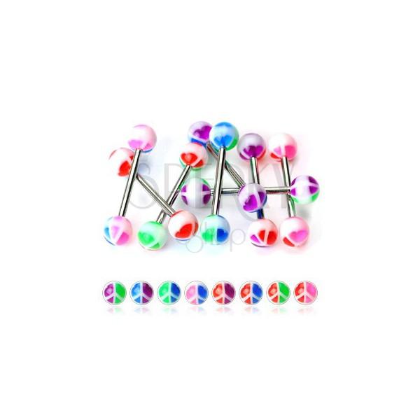 Tongue bar piercing colourful PIECE symbol