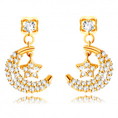 14K Golden earrings – half-moon with a star, adorned with tiny clear zircons, studs