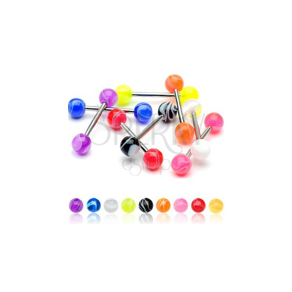 Coloured tongue ball piercing