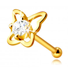 Golden nose piercing in 14K gold – butterfly contour with a round clear zircon, 2,25 mm