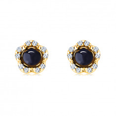 Earrings made of 14K yellow gold – flower with a round sapphire, clear zircons, studs