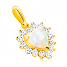 14K Golden pendant – white synthetic heart-shaped opal, edge made of round clear zircons