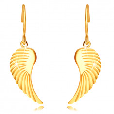 14K Golden earrings – large angel wings, shiny surface, afro hook