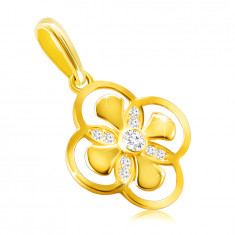 Pendant made of 14K gold – flower with combined petals, zircon in a bezel
