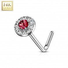 Curved nose piercing in 14K white gold – red zircon outlined with clear zircons