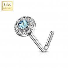 Curved nose piercing in 14K white gold – pale-blue zircon lined with clear zircons