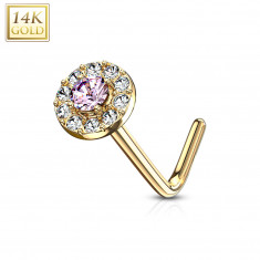 Curved nose piercing in 14K gold – pink zircon lined with clear zircons