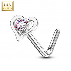 Curved nose piercing made of 14K white gold – heart-shaped contour with a pink zircon