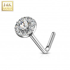 Curved nose piercing in 14K white gold – clear zircon lined with clear zircons