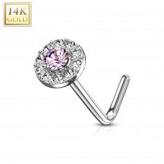 Nose piercing in 14K white gold – round light-pink zircon, zircon line, curved end