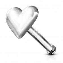 925 silver flat nose piercing - full symmetric heart