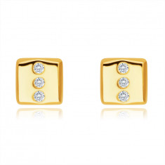 14K Golden earrings – rectangle with three round clear zircons, studs