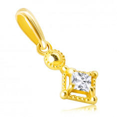 Pendant made of 14K gold – tiny glittery square-shaped zircon in a decorative bezel