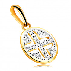 Golden pendant in 585 yellow gold – circle adorned with round zircons, black plating