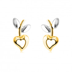 Earrings made of combined 14K gold – heart with a cut-out, stem with leaves, studs