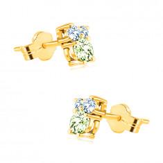 Earrings in 14K gold – stones in different sizes, olivine, blue topaz