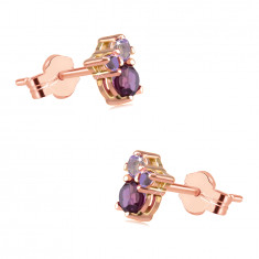 Earrings in 14K gold – stone of various sizes, rhodolite, African and Brazilian amethyst