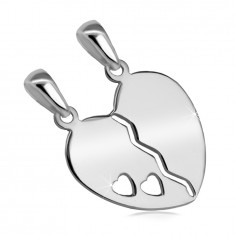 925 Silver double pendant – split heart with a cut-out of two small hearts