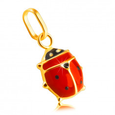 Pendant made of 14K yellow gold – red-black glazed ladybird, glossy surface