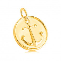 Pendant made of 585 yellow gold -round plate, naval anchor motif