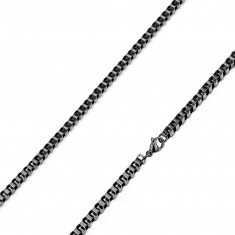 Square chain made of 316L steel – densely connected oval links of a black colour, 2 mm