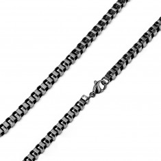 Square chain made of 316L steel – densely connected oval links of a black colour, 3 mm