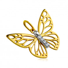 Pendant made of combined 14K gold – butterfly wings with cut-outs, short zircon line