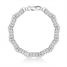 925 Silver bracelet – Byzantine pattern, lobster claw, 6 mm