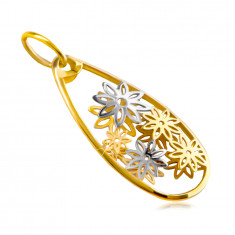 Pendant made of combined 14K gold – large teardrop line, carved flowers