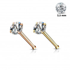 Straight nose piercing made of 316L steel – round clear zircon, PVD, 0,8 mm, diameter 2,5 mm