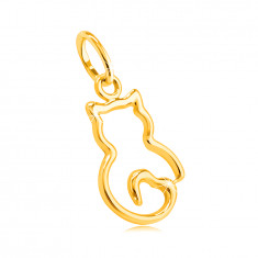 14K yellow gold pendant – thin outline of a kitten with a heart-shaped tail