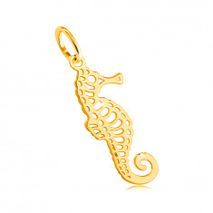 585 Yellow gold pendant – seahorse with fine cut-outs, curled tail