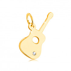 14K Yellow gold pendant – guitar with a clear zircon in the lower part