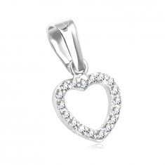 14K Gold pendant – heart contour paved with clear zircons