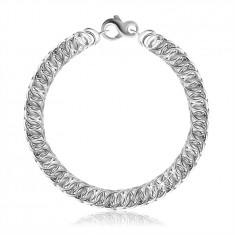 925 Silver bracelet – diagonally connected round links, lobster claw